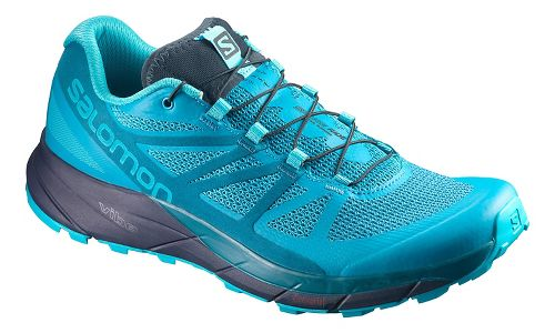 Womens Salomon Sense Ride Trail Running Shoe - Blue/Navy 10.5