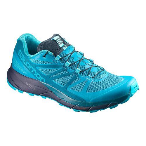 Womens Salomon Sense Ride Trail Running Shoe - Blue/Navy 7.5