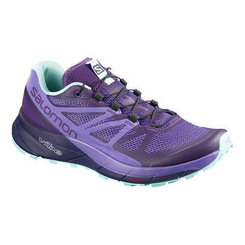 Womens Salomon Sense Ride Trail Running Shoe - Purple Purple 10