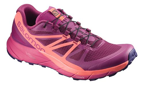 Womens Salomon Sense Ride Trail Running Shoe - Sangria/Coral/Pink 8.5