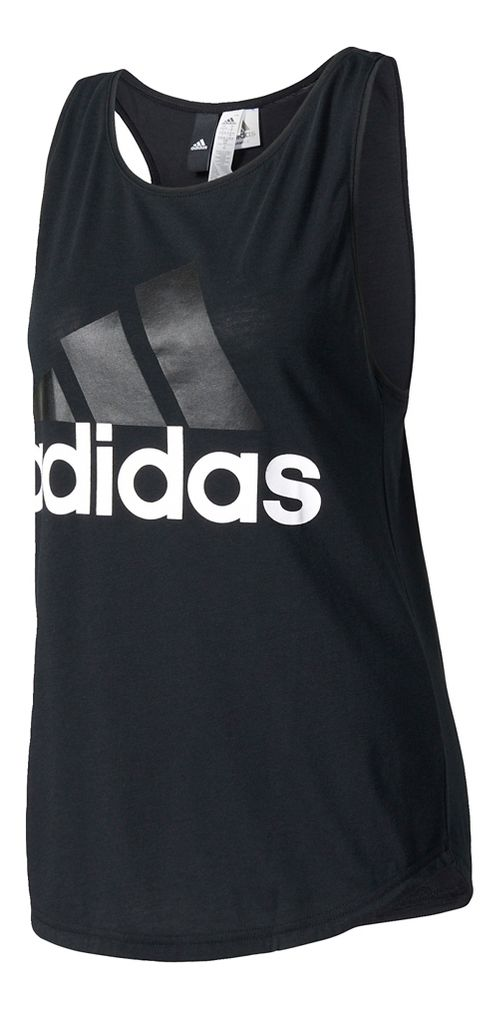 Womens adidas Essential Linear Loose Sleeveless & Tank Tops Technical Tops - Black XS