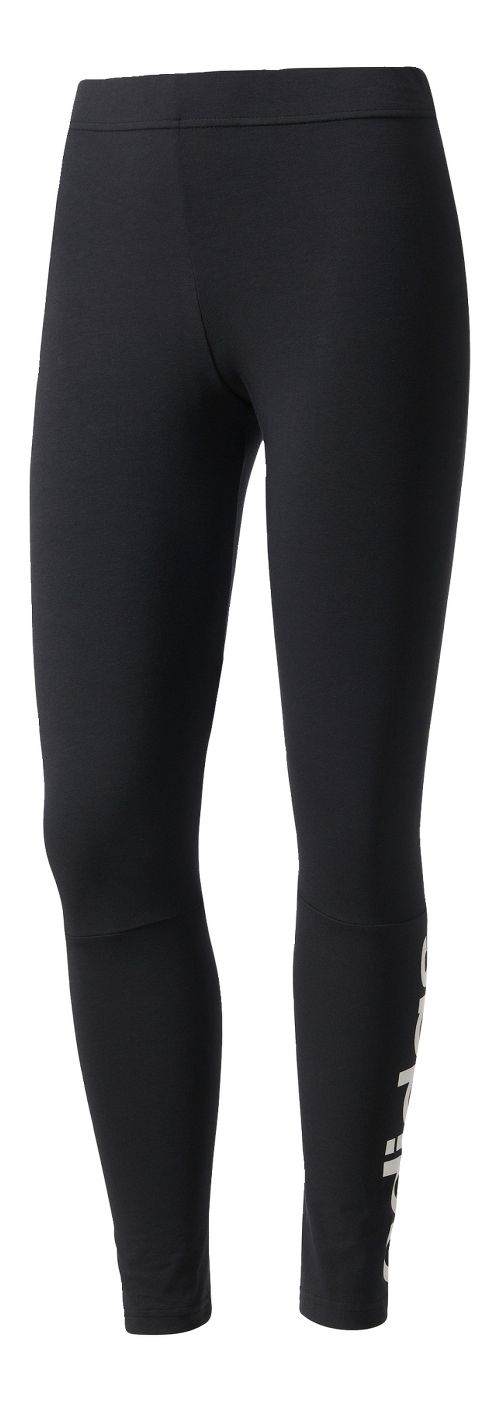 Womens Adidas Essentials Linear Cold Weather Tights - Black/White XXL