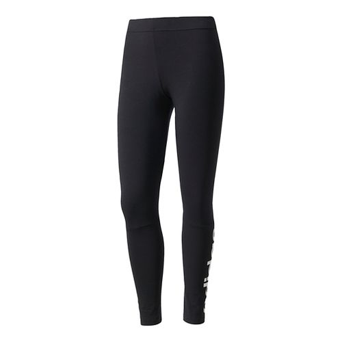 Womens Adidas Essentials Linear Cold Weather Tights - Black/White L