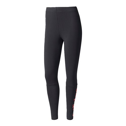 Womens Adidas Essentials Linear Cold Weather Tights - Black/Core Pink XL