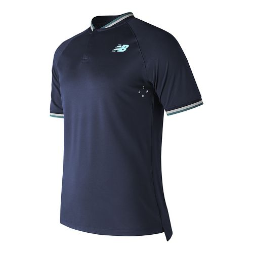 Mens New Balance Tournament Henley Short Sleeve Technical Tops - Lake Blue M