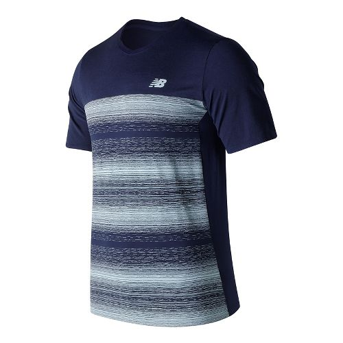 Mens New Balance Yarra Crew Short Sleeve Technical Tops - Pigment S