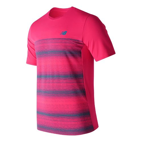 Mens New Balance Yarra Crew Short Sleeve Technical Tops - Pomegranate L