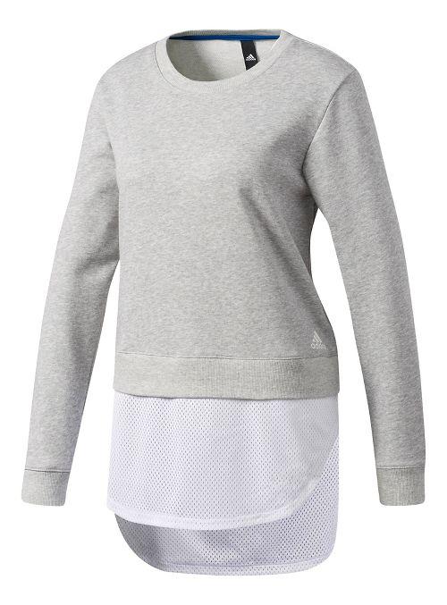 Womens Adidas Dual Sweatshirt Long Sleeve Technical Tops - Grey S