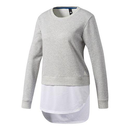 Womens Adidas Dual Sweatshirt Long Sleeve Technical Tops - Grey L
