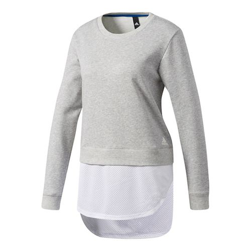 Womens Adidas Dual Sweatshirt Long Sleeve Technical Tops - Grey S