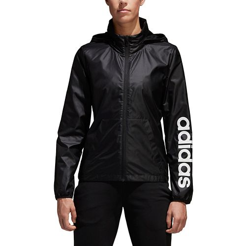 Womens Adidas Linear Windbreaker Cold Weather Jackets - Black M