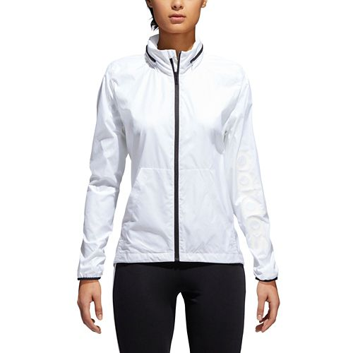 Womens Adidas Linear Windbreaker Cold Weather Jackets - White L