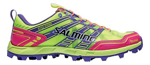 Womens Salming Elements Trail Running Shoe - Safety Yellow/Pink 10