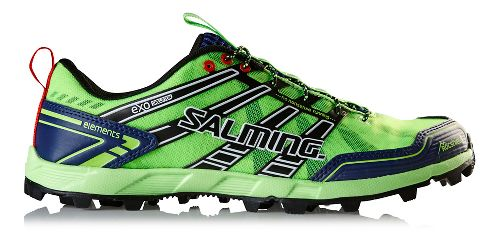 Mens Salming Elements Trail Running Shoe - Green Gecko/Navy 8