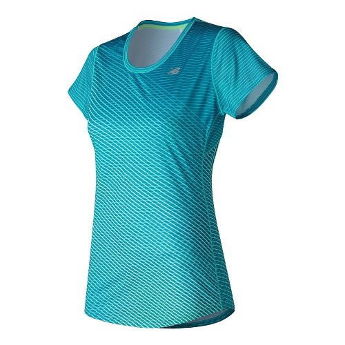 Womens New Balance Accelerate Graphic Short Sleeve Technical Tops - Deep Ozone Graphic S