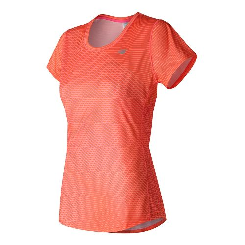 Womens New Balance Accelerate Graphic Short Sleeve Technical Tops - Sunrise Print L