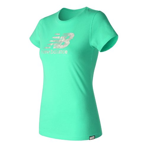 Womens New Balance Batik Logo Tee Short Sleeve Technical Tops - Vivid Jade S