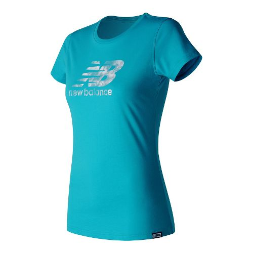 Womens New Balance Batik Logo Tee Short Sleeve Technical Tops - Vivid Ozone Blue S ...