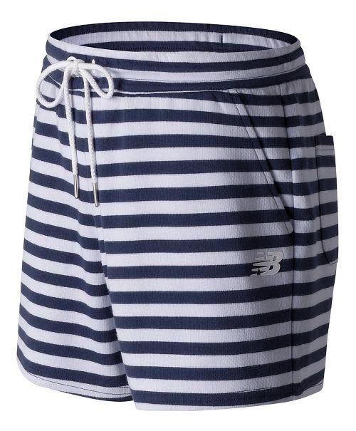 Womens New Balance Classic Fleece Unlined Shorts - White Multi L