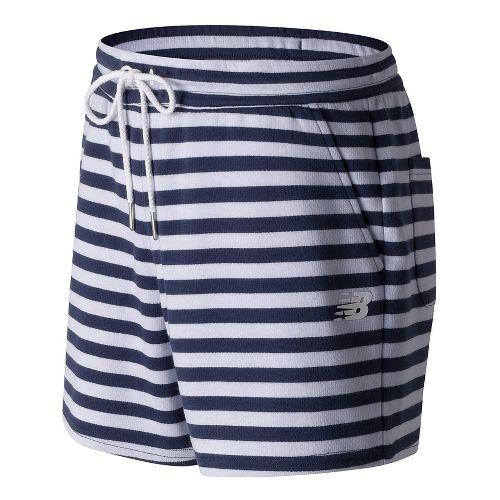 Womens New Balance Classic Fleece Unlined Shorts - White Multi XS
