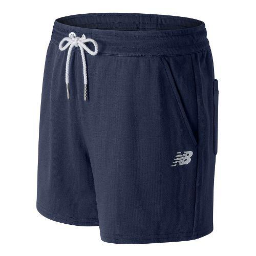Womens New Balance Classic Fleece Unlined Shorts - Navy S