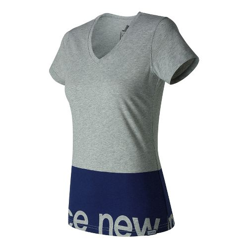 Womens New Balance Classic V Neck Tee Short Sleeve Technical Tops - Athletic Grey L