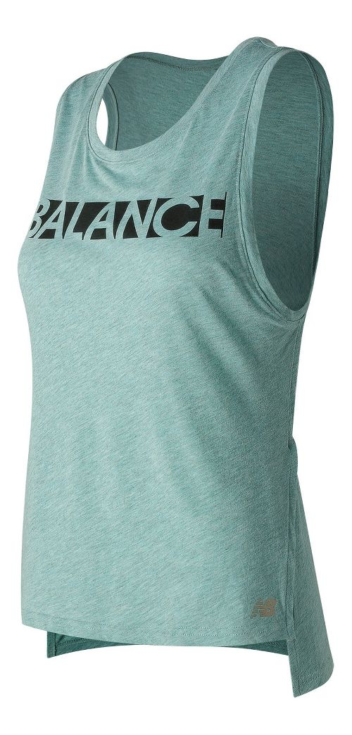 Womens New Balance Cotton Tank Graphic Sleeveless & Tank Technical Tops - Storm Blue S ...