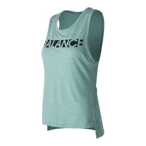 Womens New Balance Cotton Tank Graphic Sleeveless & Tank Technical Tops - Storm Blue L ...