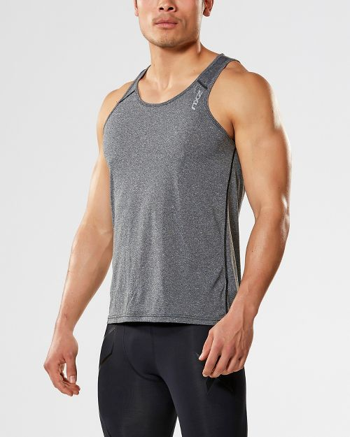 Mens 2XU ACTIVE Training Singlet Sleeveless & Tank Tops Technical Tops - Black Marle XL