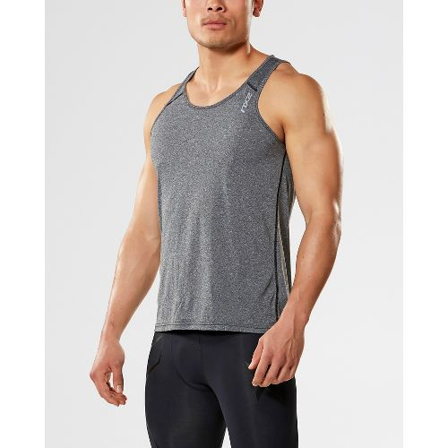 Mens 2XU ACTIVE Training Singlet Sleeveless & Tank Tops Technical Tops - Black Marle S ...