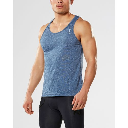 Mens 2XU ACTIVE Training Singlet Sleeveless & Tank Tops Technical Tops - Navy Marle S ...