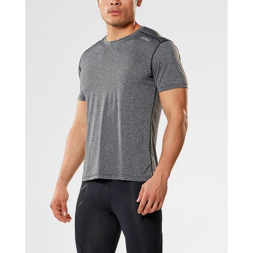 Mens 2XU ACTIVE Training Tee Short Sleeve Technical Tops - Black Marle M