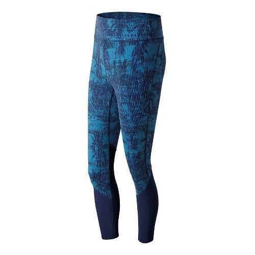 Womens New Balance Elixir Printed Crop Tights - Palm Escape S