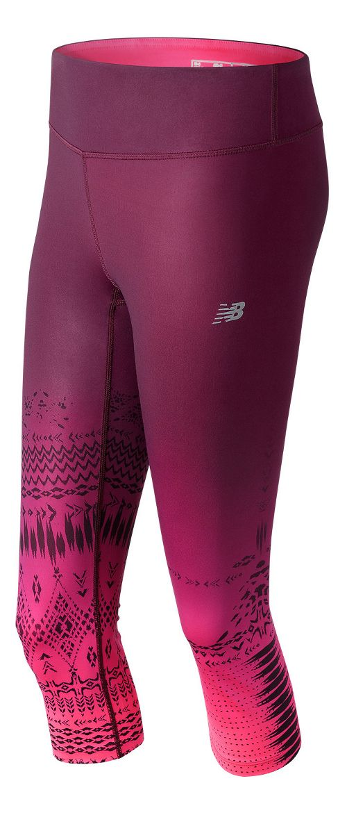 Womens New Balance Fun Run Capris Tights - Placed Block Stripes S