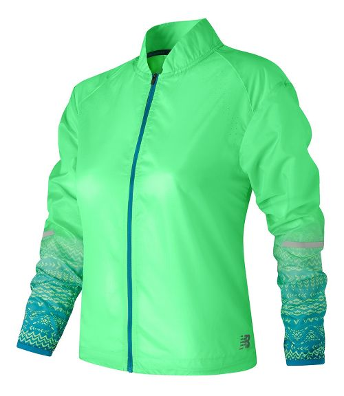 Womens New Balance Fun Run Running Jackets - Agave Green XS