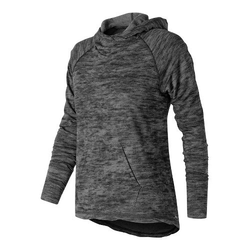 Womens New Balance Hatha Half-Zips & Hoodies Technical Tops - Black Heather L
