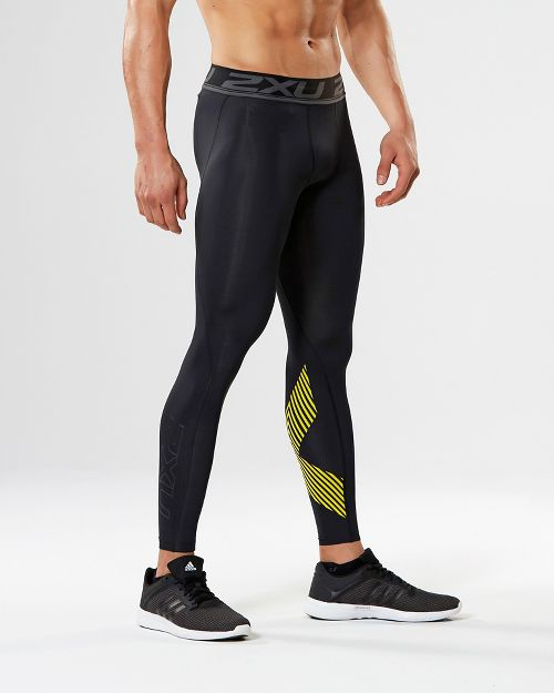 Mens 2XU Accelerate Compression Tights - Black/Lime XL
