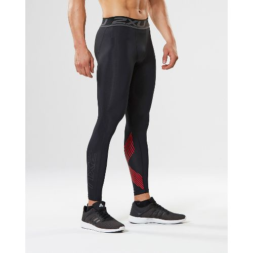 Mens 2XU Accelerate Compression Tights - Black/Scarlet L