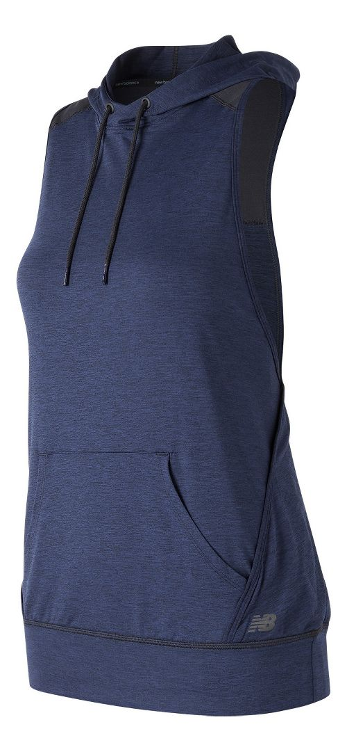 Womens New Balance Hooded Tank Pullover Sleeveless & Tank Technical Tops - Pigment Heather M