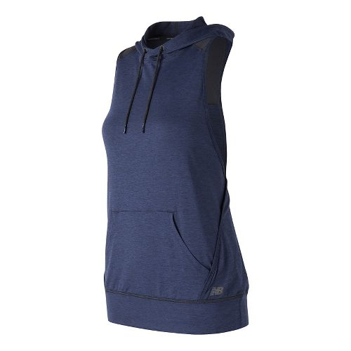 Womens New Balance Hooded Tank Pullover Sleeveless & Tank Technical Tops - Pigment Heather XS ...