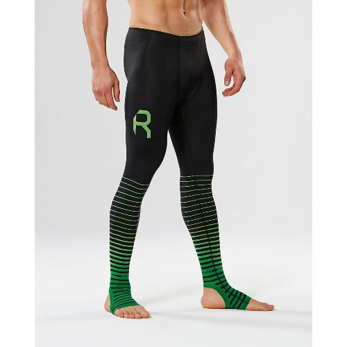 Mens 2XU Elite Recovery Compression Tights - Black/Green L