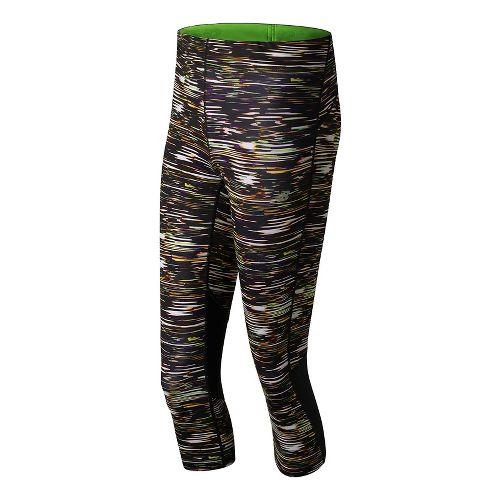 Womens New Balance Impact Print Capris Shorts - Multi Stripe M