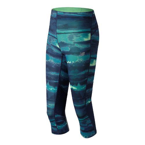 Womens New Balance Impact Print Capris Shorts - Deep Ozone Waves L