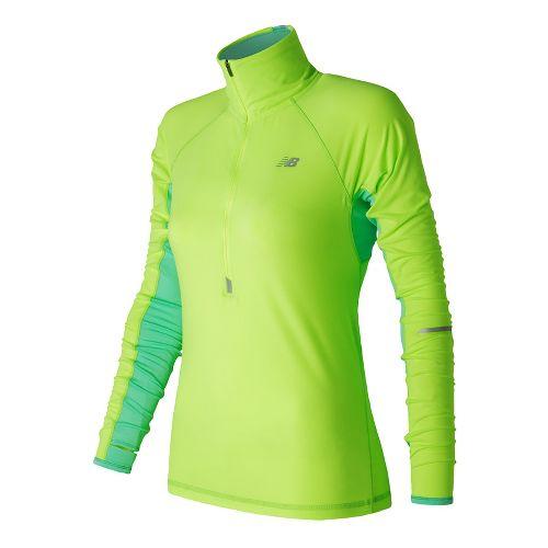 Womens New Balance Impact Half-Zips & Hoodies Technical Tops - Lime Glow XS