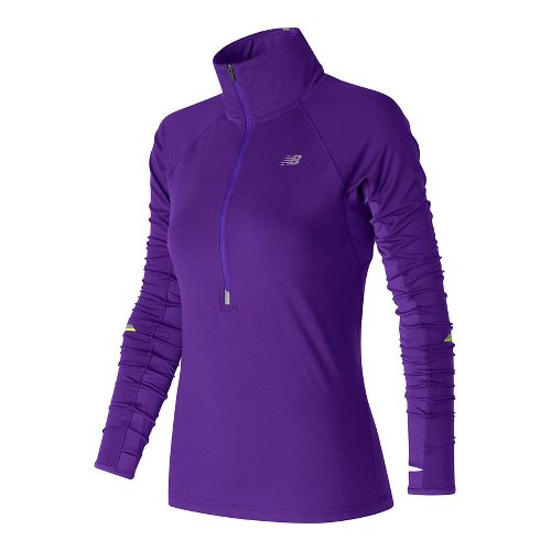 Womens New Balance Impact Half-Zips & Hoodies Technical Tops - Deep Violet XS