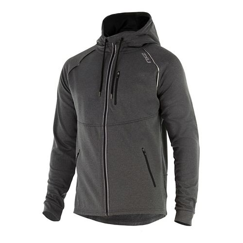Mens 2XU X-CTRL Half-Zips & Hoodies Technical Tops - Black Marle/Black S