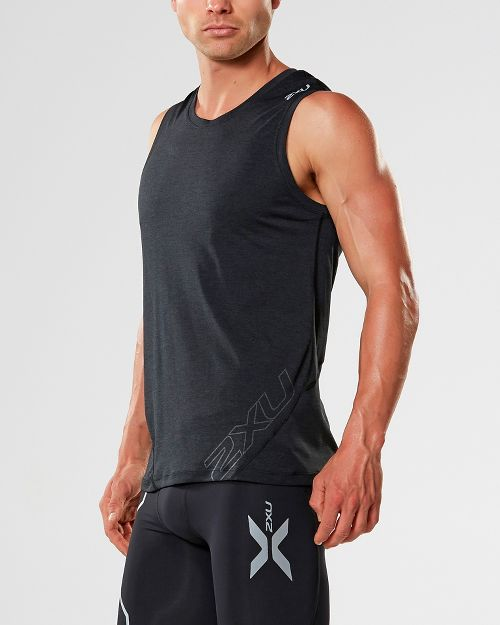 Mens 2XU X-CTRL Muscle Sleeveless & Tank Tops Technical Tops - Black/Black XXL