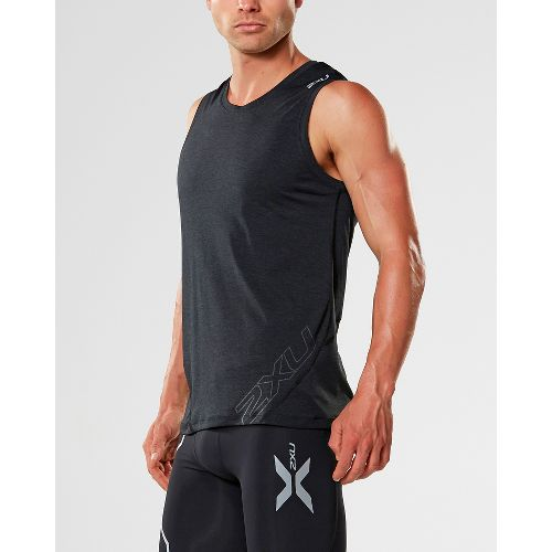 Mens 2XU X-CTRL Muscle Sleeveless & Tank Tops Technical Tops - Black/Black M