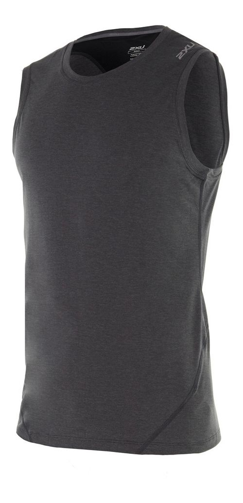 Mens 2XU X-CTRL Muscle Sleeveless & Tank Tops Technical Tops - Charcoal/Black XL