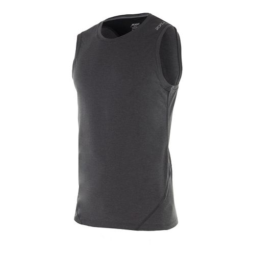 Mens 2XU X-CTRL Muscle Sleeveless & Tank Tops Technical Tops - Charcoal/Black S